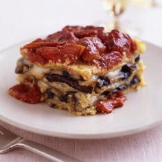 Portobello Mushroom and Almond Pesto Lasagna.