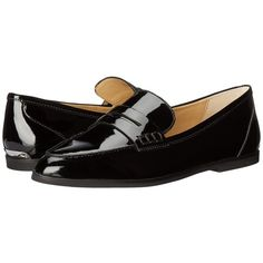 MICHAEL Michael Kors Connor Loafer (Black Patent) Women's Slip on... ($135) ❤ liked on Polyvore featuring shoes, loafers, slip-on loafers, black loafer flats, flat shoes, black patent flats and black patent loafers