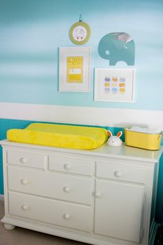 yellow and blue nursery