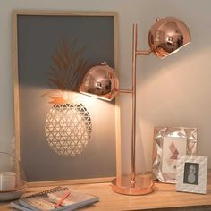 Copper metal lamp with two Bedroom Lamps, Bedroom Decor, Bedroom Kids, Copper And Marble, Copper Metal, Deco Pastel, Study Lamps, Copper Lamps, Copper Floor Lamp