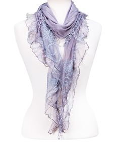Look at this Gray Lace Ruffle Scarf on #zulily today!