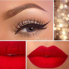 Flawless Christmas Makeup! Matte red lipstick with sparkly eyeshadow and winged eyeliner!!~