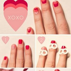 Nail art can sometimes seem complicated when you just see the finished manicure, but once you read through these step by step nail art designs you will realize just how easy it is to do it yourself. Nail Art Hacks, Nail Art Diy, Diy Nails, Manicure Ideas, Diy Manicure, Heart Nail Art, Heart Nails, Heart Art, Pretty Nail Designs