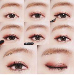 reddish/burgundy eye make up Korean Makeup Tips, Asian Eye Makeup, Make Up Looks, Ulzzang Makeup, Kawaii Makeup, Beauty Make-up, Japanese Makeup, Asian Eyes, Cosplay Makeup