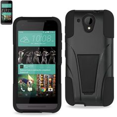 Reiko Silicon Case+Protector Cover For HTC Desire 520 New Type Kickstand Black