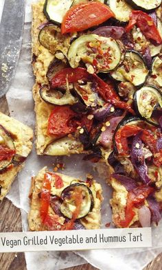 Vegan Grilled Vegetable and Hummus Tart vegan, plantbased, earth balance, made just right