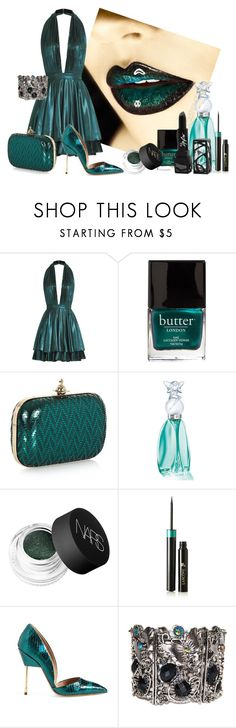 """Metallic Teal"" by lily0906 ❤ liked on Polyvore featuring Just Cavalli, Butter London, Vivienne Westwood, Anna Sui, NARS Cosmetics, Lancôme, Kurt Geiger and The Lip Bar"