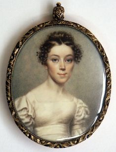 1825-30 ca.  Portrait, American. Miniature of an Attractive Lady by Nathanial Rogers from New York City.     www.antiques.com