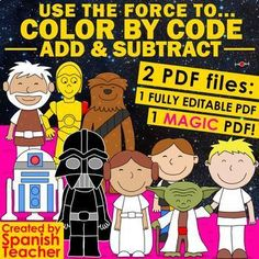 USE THE FORCE to Color by Code – Add and Subtract by Spanish Teacher