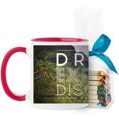 Dream Explore Discover Mug, Red, with Ghirardelli Assorted Squares, 11 oz, White