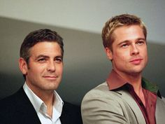 George Clooney & Brad Pitt. From the Oceans 11 day.