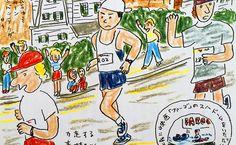 安西水丸さんによる、ボストン・マラソンを走る村上春樹のイラスト