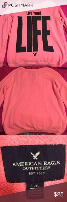 American Eagle coral crewneck sweatshirt Size L Super soft & comfy crewneck sweatshirt. Bright coral color. Worn & washed once, perfect condition. Make an offer! American Eagle Outfitters Tops Sweatshirts & Hoodies