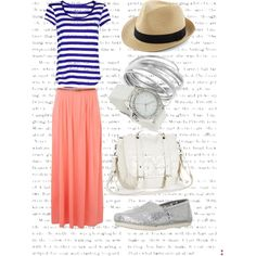 """Navy Stripes and Salmon Maxi Skirt with Sliver TOMS"" by matalyn-choate on Polyvore"