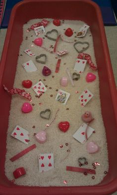 Sensory Table - Valentines Theme Could count/graph items Valentine Sensory, Valentine Theme, Valentines Day Activities, Valentines Day Party, Valentine Day Crafts, Sensory Table, Sensory Bins, Sensory Play, Kindergarten Sensory