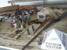 Armas e munições são apreendidas durante operação da Polícia Militar em Ipaba, no Vale do Rio Doce