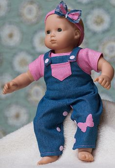 "Bitty Baby Jean Overalls, Pink T Shirt, Headband with Pink Butterfly, Doll Clothes fits 15"" Dolls, Bitty Twins."