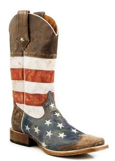 Roper Mens Americana Brown Collection American Flag Square Toe Leather Cowboy Boots