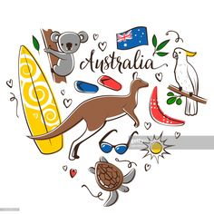 stock illustration : Australia symbols Drawing Projects, Drawing Ideas, Free Illustrations, Any Images, Still Image, Australia, Shapes, Disney Characters, Drawings