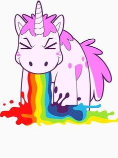 Cute Unicorn Stuff | Only unicorns puke rainbows! Great cute unicorn drawing that's super kawaii! Makes for a great costume.