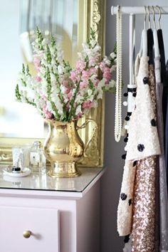 Glam closet vignette