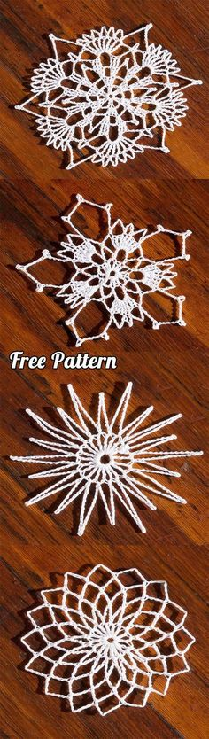 Crochet Patterns Christmas Crochet Snowflakes: Learn how to make 4 different types with free pattern Diy Christmas Snowflakes, Crochet Christmas Decorations, Christmas Coasters, Crochet Christmas Ornaments, Crochet Snowflakes, Snowflake Pattern, Christmas Gifts, Tree Decorations, Crochet Beanie Pattern