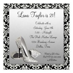 Glitter High Heels Black Damask Birthday Party Personalized Invitation