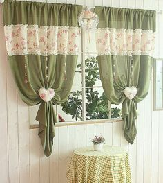Beautiful kitchen curtains Window Valance 25 Creative Ideas For Modern Decor With Beautiful Kitchen Curtains Cute Curtains, Curtains And Draperies, Green Curtains, Beautiful Curtains, Country Curtains, Vintage Curtains, Valances, Modern Kitchen Curtains, Shabby Chic Kitchen