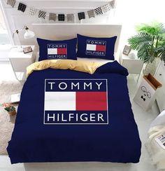 Tommy Hilfiger Logo Custom Bedding Set, Duvet Cover, 2 Pillow Cases, B - LibeTee Duvet Bedding Sets, Queen Comforter Sets, Girl Bedding, Pinterest Room Decor, Designer Bed Sheets, Bed Covers, Luxury Bedding, Tommy Hilfiger, Luxury Bedrooms