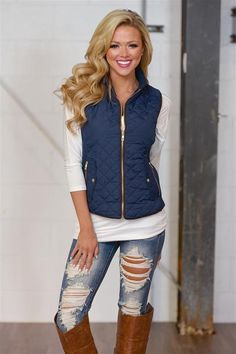 closet candy boutique: More To Explore Quilted Puffer Vest - Navy