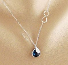 Initial Infinity Necklace Bezel Stone Infinity by hotmixcold, $37.00 It has your BLUE!!!!!!!!!!