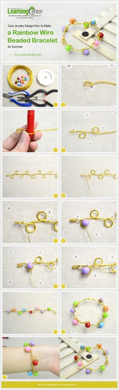 Cool Jewelry Design-How to Make a Rainbow Wire Beaded Bracelet for Summer