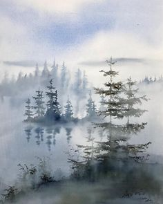 "Malin Mossberg's Instagram photo: ""💙 - - - - #akvarell #watercolor #inredningsdetaljer #interiordetails #galleri #gallery #arte #aquarelle #artwork #shinrinyoku"" Watercolor Landscape Paintings, Abstract, Gallery, Artwork, Instagram, Summary, Work Of Art, Roof Rack, Auguste Rodin Artwork"