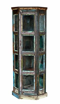 """Product Code : SSA-5068 Material : Solid Reclaimed Wood  Size ( H x W x D) : 72"""" x 29"""" x 21.5"""" (inches) Handling Time- 2 to 3 Days and Delivery Time- 10 to 12 Business Days (Ship by Fed-ex / DHL International Priority) Fitting neatly into the corner of your living room, this... see more details at https://bestselleroutlets.com/home-kitchen/furniture/home-office-furniture/product-review-for-large-bookcase-vintage-spectacular-reclaimed-wood-carvings-handmade-ward"""