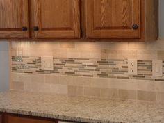 4x4 Tile backsplash set at an diagonal with an accent stripe going