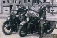 Two corporals of the Airborne Division's MP Platoon patrol Berlin on a pair of Harley-Davidson WLAs - May 1945 Harley Davidson Wla, Harley Davidson History, Harley Davidson Motorcycles, Military Police Army, Us Army, American Motorcycles, Used Motorcycles, Vintage Motorcycles, Canadian Army