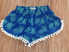 Pom Pom Shorts Pineapple Pants 70's inspired gym by ljcdesignss