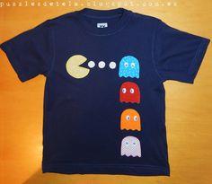 Camiseta patchwork, camiseta niño, camiseta con aplicaciones, camiseta comecocos, camiseta pac man, camiseta pacman, camiseta niño