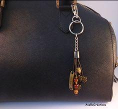 Bijoux de sac -dream - agates - fleurs-marron  Bijoux créateur - fait main de la boutique Axellecreations sur Etsy