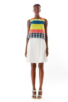 Novis | Spring 2015 Ready-to-Wear | 02 Multicolour printed sleeveless cropped top and white mini skirt