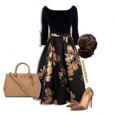 A fashion look from October 2015 featuring Christian Louboutin pumps, Michael Kors tote bags y Deepa Gurnani hair accessories. Browse and shop related looks. Apostolic Fashion, Modest Fashion, Fashion Dresses, Classy Dress, Classy Outfits, Casual Outfits, Summer Outfits, Mode Outfits, Skirt Outfits