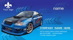 Sports car business card PSD design material