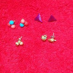 Vintage Post-Style Earrings Bundle Bundle of 4 sets of post earrings. Strawberries, triple balls, purple triangles & a set of locking gold balls. Vintage.No trades Vintage Jewelry Earrings