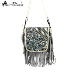 Made of genuine leather this cross body bag features: Basket weave and vintage tooled leather with matching color inlay 5 Inches leather fringe Open enclos Leather Fringe, Leather Tooling, Real Leather, Leather Purses, Tooled Leather, Leather Art, Fringe Crossbody Bag, Leather Crossbody, Fringe Purse