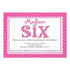 Polka Dot Alphabet Sixth Birthday Party Invitation Kids Invitations Favors 6th