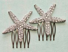 Crystal Starfish Hair CombsSet of TwoSilver by Mermaid Jewelry, Fancy Hairstyles, Silver Rhinestone, Bridal Hair Accessories, Starfish, Hair Combs, Hair Accessory, Wedding Veil, Dress Styles