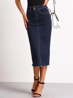 Shop Navy Split Back Slim Denim Skirt online. SheIn offers Navy Split Back Slim Denim Skirt & more to fit your fashionable needs.