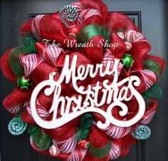 Merry Christmas Wreath Christmas Wreath Deco Mesh Christmas Wreath Red and Green Wreath White Poly Mesh Ribbon Peppermint Candy Cane