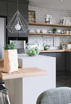 Kitchen Decor: 60 Models With Photos For You To See Now Black gray kitchen, subway tiles, Scandi kitchen # decor # You Apartment Kitchen, Home Decor Kitchen, Kitchen Furniture, New Kitchen, Kitchen Lamps, Kitchen Black, Stylish Kitchen, Kitchen Small, Awesome Kitchen