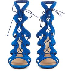 Christian Louboutin Amazoulo 100mm sandals ($975) ❤ liked on Polyvore featuring shoes, sandals, blue, high heels, blue shoes, leather strap sandals, blue sandals, christian louboutin shoes and cut out sandals